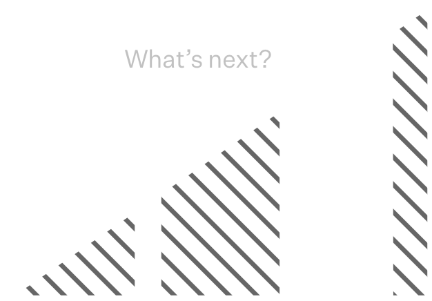 "Graph going up with text that says ""What's next?"""